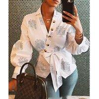 Camicia per camicetta da donna Blusa 2021 Abbigliamento femminile Manica lunga Blusas casual da donna Camicette da ufficio Camicette stampa Lettera Stampa Lady OL TopFree Spedizione per via aerea