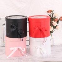 1 ADET Çift Katmanlı Dönebilen Silindir Kağıt Hediye Kutusu Taze Çiçek High-end DIY Dekor Sevgililer Günü Paketleme Wrap Şekeri