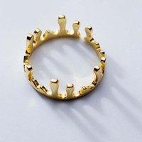 Fashion Silver Gold Simple Crown Ring Womens Elegant Irregular Design Adjustable Finger Ring Jewelry Wholesale DFF4643