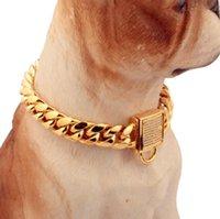 14mm Designer Pet Collar luxury Stainless Steel Titanium Steel Gold Chain Micro Inlaid Zircon Button Dog Chain Cat Dog Collar Accessories