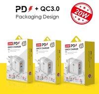 PD Type-C 18W Caricabatterie 20W con QC3.0 Adattabile ricarica rapida Caricatore per cellulare Dual Port Caricabatterie da viaggio per iPhone 12 Samsung S20 S10