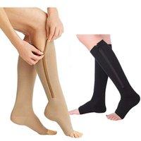 Sports Socks Men's Women's Compression Toe Open Leg Support Stockings Knee High Yoga Garter Zipper