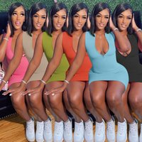 Frauen Casual Sexy Gedruckt Reißverschluss Enge Kleid Designer Sommerkleid Minirock Sleeveless Party Nachtclub Plus Größe Kleidung