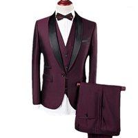 Yffushi hombres traje hombres 3 piezas vino rojo chal shawl sapel tuxedo novios trajes de boda para negocio casual mejor masculino blazer1