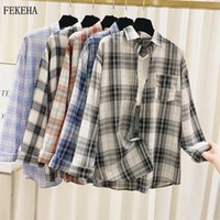 Womens Plaid Shirts Summer Sunscreen Blouses And Tops Long S...