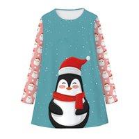 Spielerisches Kleid Cartoon Digitaldruck Crew Neck Sockel Santa Claus Lange Ärmel Kinder Mädchen Mode Kleider Kleider Weihnachten 23sl K2