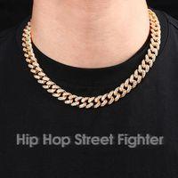 ZB002 Hip Hop Street Fighter Trendsetter Küba Zincir Kakma Ile Bilezik 12mm Tam Elmas Erkekler ve Kadınlar için Hiphop Altın Kaplama Kolye Hediye