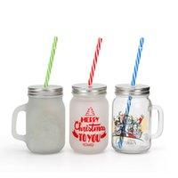 400ml Sublimation Blanks Glass Mason Jar Mugs Mason Cans with Straws 500ml Clear Drinking Glass Bottle Juice Mug with handle