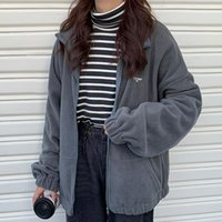 Women's Jackets Women Fleece Turn-Down Collar Zipper Long Sleeve Lamb Coats Jacket Winter Kpop Ulzzang Bf Style Harajuku Hoodie