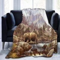 담요 구식 그리즐리 베어 양털 담요 봉제 부드러운 침대 소파 80x60 인치에 적합