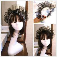 Hair Accessories Lady Ruffles Mesh Lace Crown Headband Vintage Imitation Clear Crystal Tassels Pendant Hoop Anime Halloween Party Headdress