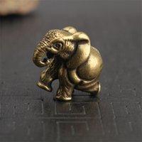 الرجعية منحوت النحاس النقي الفيل تمثال صغير فنغ شوي الحلي اليدوية النحاس الحيوان الحرف ديكور المنزل مكتب مكتب تمثال