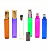 10ml Glass Essential Oil Roll on Bottles Perfume Bottle SINGLE Roller Bottle with 6 Colors Body 3 Colors Cap