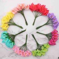 144pcs 미니 거품 칼라 릴리 가짜 꽃 꽃다발 장식 웨딩 장식에 대 한 인공 꽃 발렌타인 데이 present.q t191029