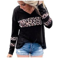 Women's T-Shirt Plus Size Shirts Women Spring Leopard Print Blouse Basic Color Long Sleeve Patchwork Tunic Personality Tops Drop
