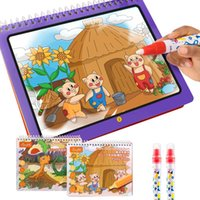 Tumama Magic Water Drawing Book Diy PieceColoring Doodle Magic Pen Diy Drawing Toys для детей День рождения подарок 2 Pack Q0313
