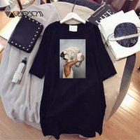 PROPCM PLUS Taille Robes Elégante Beauté Imprimer T-shirt à manches courtes Vêtements Casual Luxe Mini Femme Robe Vestido Femmes Été Mode 2021