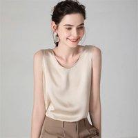 Suyadream Mulheres Silk Tanques 100% Real Silk Satin O Neck sem mangas Camisa Sólida Verão Coletes 210322