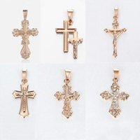 Pendant Necklaces 585 Rose Gold Cross Necklace For Women Prayer Jesus Snake Rolo Link Chain Crucifix Clear Crystal Jewelry Gifts LGP405