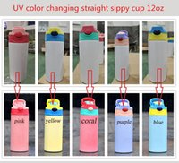 12oz Sublimation Straight Sippy Cup UV Color changing Children Water Bottle 350ml Blank white Portable Stainless Steel vacuum insulated Kids drinking tumblers