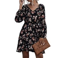 Casual Dresses Woman Polka Dot Flower Dress Puff Sleeve V-neck Lace-up Elastic Waist Clothes