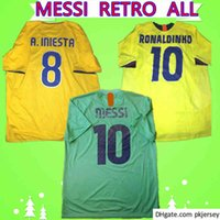 2010 2011 Grün Auswärts Messi Jersey 2009 2009 Retro Fussball Jersey Ronaldo 1996 1997 Henry 2005 2006 Ronaldinho Classic Vintage Football Hemd Uniform
