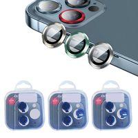 Telefon Lens Ekran Koruyucu için iphone 12 Pro Max 11 12mini 3D Tam Geri Kamera Temperli Cam Filmi Alüminyum Metal Kılıf Kutusu Ile