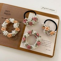 Hair Accessories Handmade Rose Pearl Band Rubber Bracelet High Quality Cotton Flower Elastic Wholesale