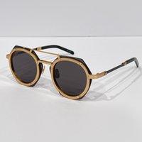 Topkwaliteit Mens Zonnebril Luxe Merk Ontwerp Mode Stijl Mirror Sunglasses Shades Steampunk Retro Vintage Man Bril Dames Hexagon Eyewear 006