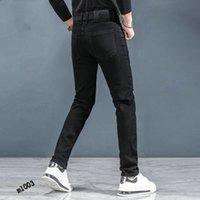2021Patches Detail Biker Fit Jeans Men Slim Motorcycle For Mens Vintage Distressed Denim Jean Pants 28-38 #02