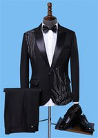 Men's Suits & Blazers 2 Pieces Luxury Men Crystal Custom Made Wedding One Button Tuxedos Peaked Lapel Blazer Business Coat+Pant