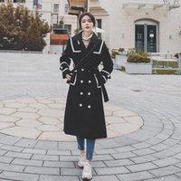 Kadın Yün Karışımları Dikiş Yün Mavi Ceket Kore Versiyonu 2021 Sonbahar Kış Rahat Nazik Tüm Maç Bayan Femme
