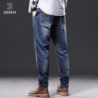 Homens jeans homens sólidos calças jeans de comprimento completo perna reta calças soltas machos estilo clássico algodão baggy cowboy jean 3 cores