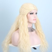 Anxin Wig Factory Bouncy Curly Long Blonde Wigs For Women Cute Wavy Synthetic Hair Braid Gold Kinky None Lace Front Hi1