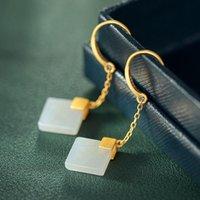 Dangle & Chandelier Natural Hetian White Jade Diamond Geometry Earrings Chinese Style Retro Tassel Luxury Antique Gold Craft Female Silver J