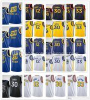 2020-21 جديد الرجال النساء الاطفال الشباب كيلي 12 Oubre Jr. James 33 Wiseman Stephen 30 كاري الفانيلة كرة السلة مدينة البحرية الأسود أصفر أزرق أبيض