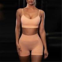النساء نحيل طماق السراويل أزياء الاتجاه الرياضة حبال قصيرة أعلى السراويل الإناث جديد سلس الحياكة اللياقة البدنية اليوغا الصدرية مجموعات ضئيلة ملابس رياضية ضئيلة