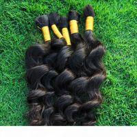 Human Hair Bulk No Weft Best Peruvian Loose Wave Hair 3 Bundles Curly Human Hair Extensions For Micro braids Cheap Weave Bulks
