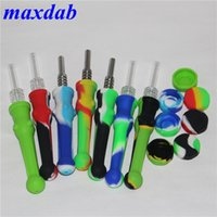 14mm Silicone Nectar Collector Mini Water Pipe with titanium Quartz tips Concentrate Dab Straw Bong oil Rig