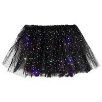Röcke Frauen Stern Pailletten Mesh Falten Tüll Prinzessin Rock mit LED Small Birne 2021 Frauen Sexy Kleid Kleidung Vestido #gm