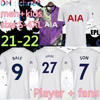 Size: S-4XL 20 22 22 Kane Son Bergwijn Soccer Jerseys لاعب نسخة المشجعين 2021 2022 Lucas Spurs dele توتنهام كرة القدم قميص بيل