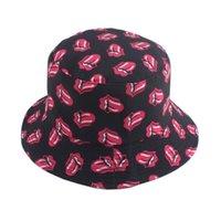 와이드 브림 모자 streetwear 힙합 모자 하라주쿠 입 혀 인쇄 만화 블랙 양동이 남성 여성 가역 fishmerman 모자