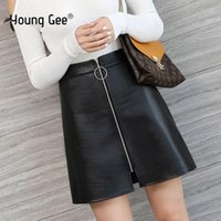 Young Gee Solid Pure High Waist Leather Mini Skirt Women 202...