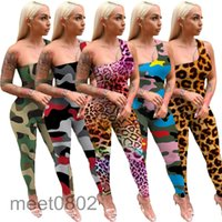 Женский комбинезон дизайнер лето новая мода женские сексуальные одно плечо без рукавов камуфляж леопарда змея печать брюки случайные коммунарии