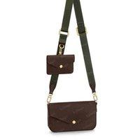 حقيبة crossbody نساء متعدد pochette 3in1 أكياس الكتف حقيقي حقيبة يد جلد حقيقي حقائب اليد الفلشية حزام الذهاب 80091 مع مربع سلسلة محافظ # FGO-01