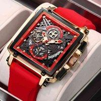 디자이너 시계 브랜드 시계 럭셔리 시계 방수 쿼츠 사각형 손목 남성 날짜 스포츠 실리콘 시계 남성 몽트르 옴므