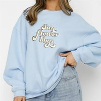 Women's Hoodies & Sweatshirts Retro Letters Printing Women Autumn Winter O-Neck Long Sleeve Oversized Causal Vintage Ladies Loose Tops