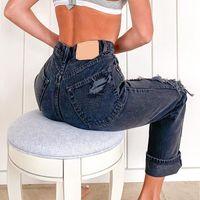 Le donne jeans Hole strappato per pantaloni donna BAGGY MOMAND PANTALONI ALTA Vita 2XL DONNA