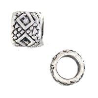 Beads Charms For DIY ilia & Biagi Bracelets Alloy Retro Silver Round Diamond Slide Large Hole Metal Jewelry Findings Fashion 7*6mm 500pcs