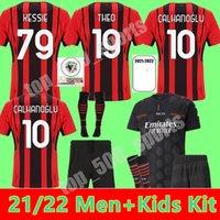 Мужчины + Kids Kit AC Milan 212 22 футбола трикотажные изделия Ибрагимович Paqueta Bennacer Tonali Romagnoli Jersey 2021 2022 Calhanoglu Rebic Молодежные мальчики футбол